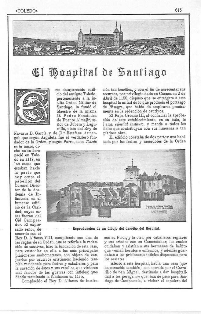 Artículo sobre el Hospital de Santiago por Manuel Castaños Montijano publicado en 1923 en la Revista Toledo