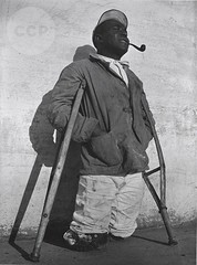 Legless Inmate on Crutches, Kilby Prison, Alabama, by John Gutmann 1937