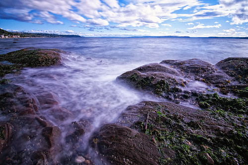 seattle sea mist beach water rock washington shore alki pugetsound