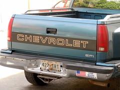 sport utility vehicle(0.0), compact sport utility vehicle(0.0), chevrolet(1.0), automobile(1.0), automotive exterior(1.0), pickup truck(1.0), vehicle(1.0), truck(1.0), chevrolet silverado(1.0), bumper(1.0), land vehicle(1.0), vehicle registration plate(1.0),