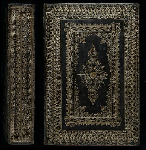 This elaborate goatskin binding represents the top...