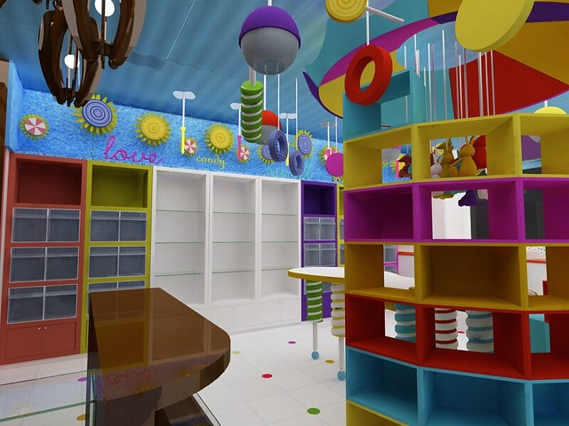 Diseño de Muebles para Tienda de Dulces. Cocepto. Local ...