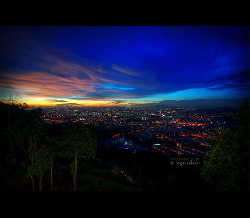 city blue sunset sky panorama nikon tokina1224 nightshots kualalumpur hdr klcc lighttrail longexposures lookoutpoint d90 tonemapped ampanghill hdcpl
