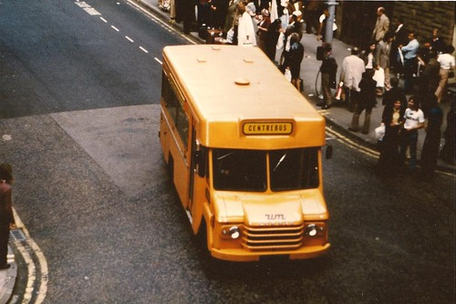 "An early ""bread van"" bus repainted orange 1974"