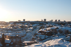 Old Town Yellowknife with downtown in the background