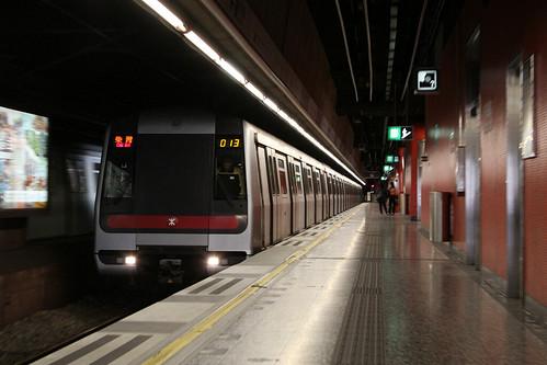 Train arriving into Heng Fa Chuen
