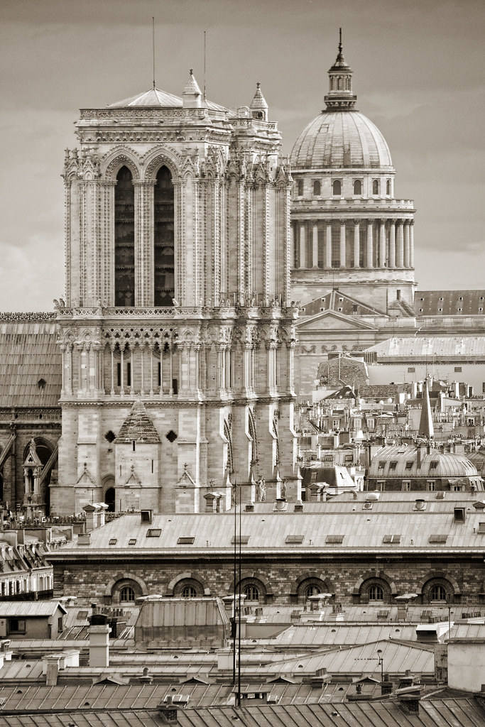 France Paris View From The Pompidou Sepia To Give Th