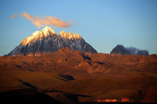 The sacred Mount Zhara Lhatse 5820m at sunset, Tibet