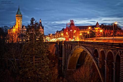 city bridge night europe luxembourg project365 ponteadolphe 3652011