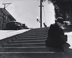 Old Lady in Sorrow Resting on Steps of San Francisco, by John Gutmann 1938
