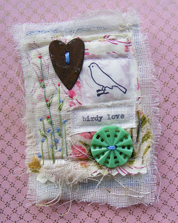 textile collage brooch