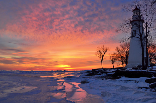morning winter sky lighthouse lake sunrise nikon colorful marblehead great lakes historic oh erie d7000