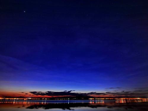 blue sunset red lake water clouds reflections stars cyprus saltlake larnaca larnaka nitelights stavrovouni nikond300 cypruslandscape larnakacyprus varnavasthearchitect