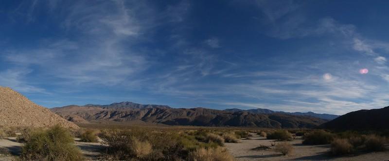 Collins Valley Panorama, with Santa Rosa Mountain, Toro Peak, Villager Peak, and Rabbit Peak on the distant horizon