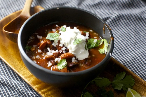 More Chili: With beans, beef and sour cream and cheddar biscuits . A ...