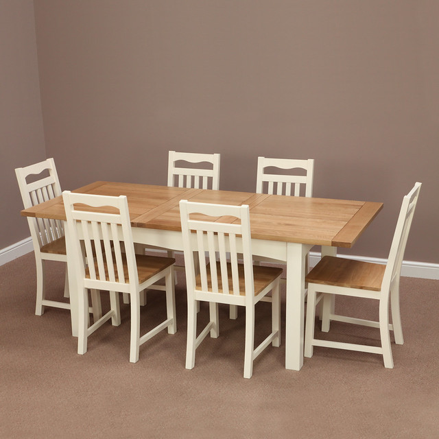 Cotswold cream painted solid oak extending dining table 6 cream chairs flickr photo sharing - Cream dining tables and chairs ...