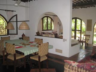 Dining & living area at Shambani cottage