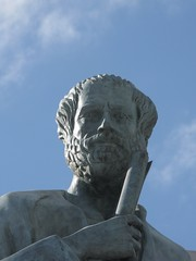 Close up of Aristotle's head - statue