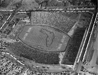 Aerial View of the Gator Bowl Stadium During Show at the 1954 Game Between Auburn University and Baylor University: Jacksonville, Florida