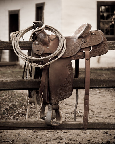 western saddle with a lasso on it