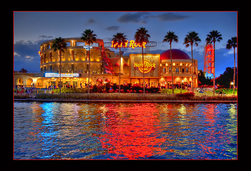 park sunset reflection building tree water rock architecture cafe orlando nikon florida hard palm theme universal nikkor studios hdr 2470mmf28 d700