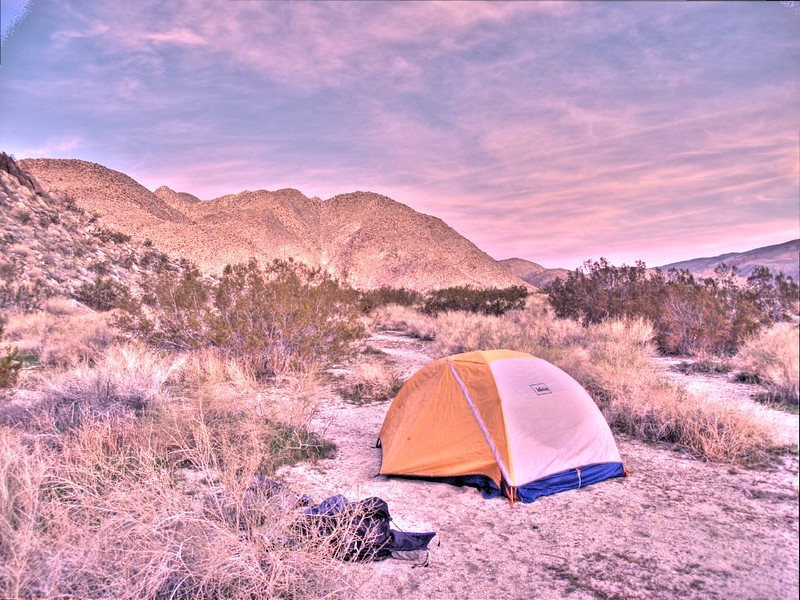 HDR shot of our tent and campsite at dawn