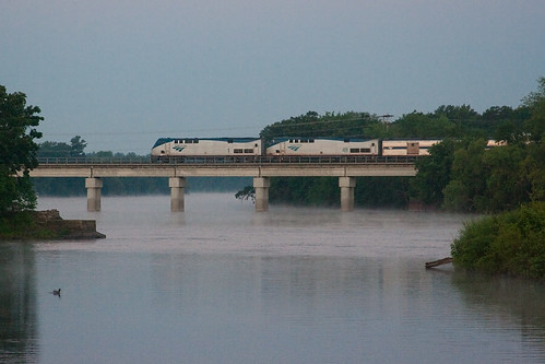 bridge water minnesota train sunrise duck littlefalls amtrak mississippiriver steamcloud empirebuilder staplessubdivision