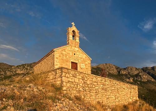 sunset sun church stefan montenegro sava sveti svstefan