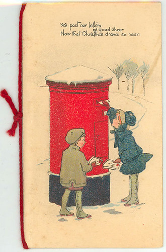 'We post our letters of good cheer/ Now that Christmas draws so near' Christmas Card (Early 20th Century)