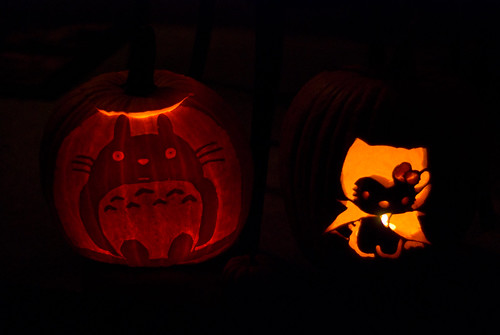 Totoro & Vampire Hello Kitty Pumpkins