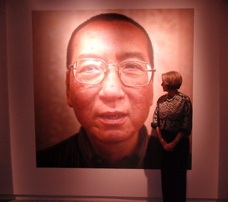 Speaker Pelosi With a Portrait of Liu Xiaobo at the Nobel Peace Center