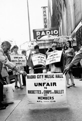 Striking members of the Rockettes and Corps de Ballet picket outside Radio City Music Hall, October 1, 1967.