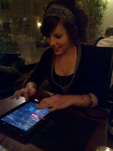 Linnéa playing Jubeat Plus on iPad