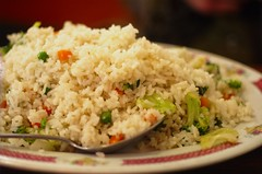 nasi goreng(0.0), fish(0.0), steamed rice(1.0), thai fried rice(1.0), food grain(1.0), yeung chow fried rice(1.0), rice(1.0), produce(1.0), food(1.0), pilaf(1.0), dish(1.0), fried rice(1.0), cuisine(1.0),