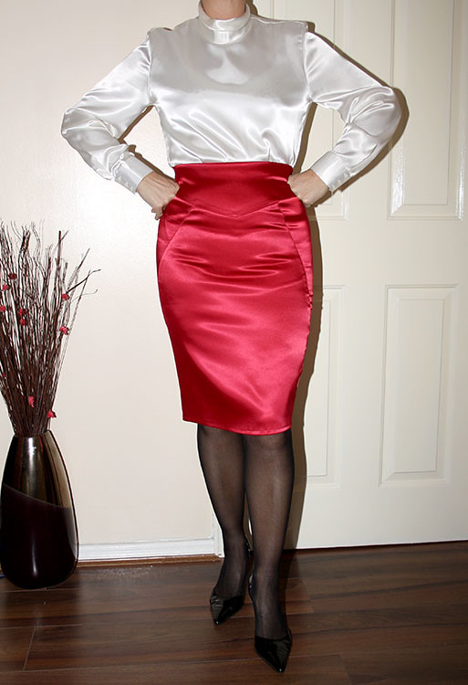Fetish satin skirt
