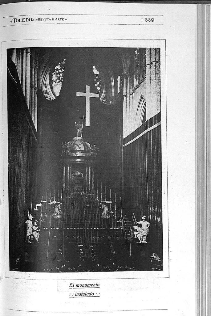 Reportaje sobre el Monumento de la Catedral de Toledo obra de Ignacio Haan publicado en abril de 1928 en la Revista Toledo. Página 3