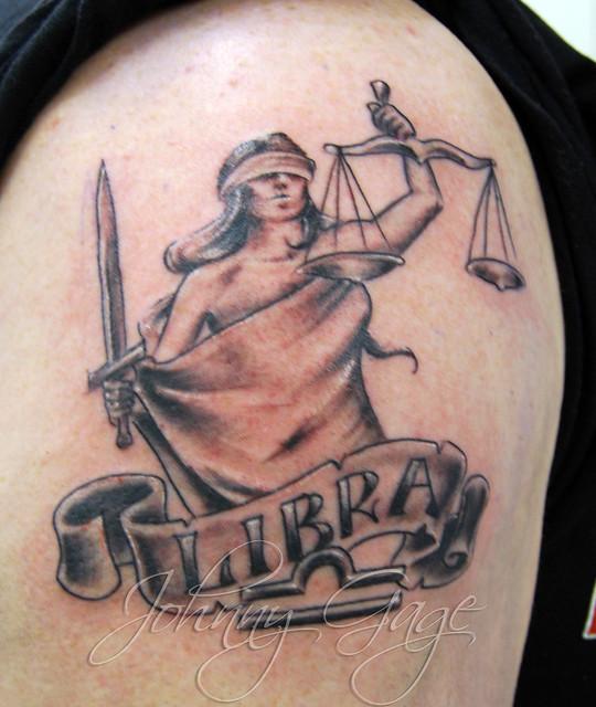 libra justice woman tattoo