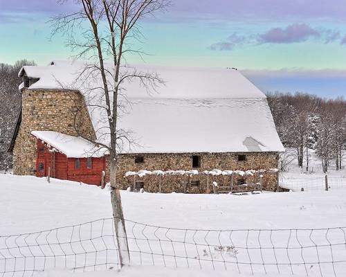 usa snow tree ice clouds fence geotagged photography silo recent antrimcounty fieldstone historicbarn eastjordanmichigan michigannut