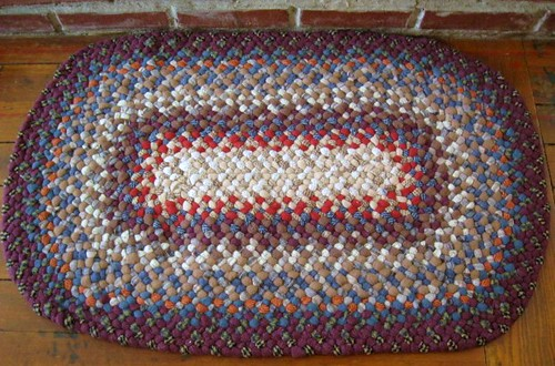 Cranberry/Blue Gray Oval Braided Rug