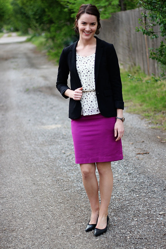 pinkpencilskirt-polkadots-blazer-5