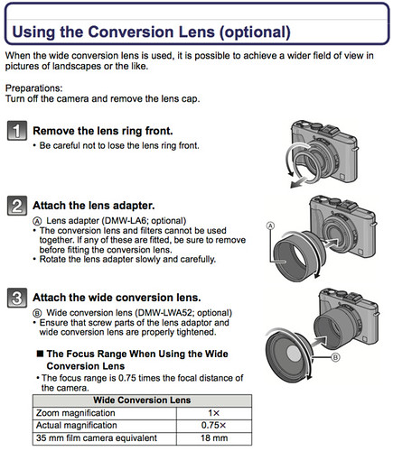 Using the Panasonic DMW-LWA52 Wide Conversion Lens, as referenced on page 201 of the Panasonic LX5 Manual (Advanced Operating Instructions)