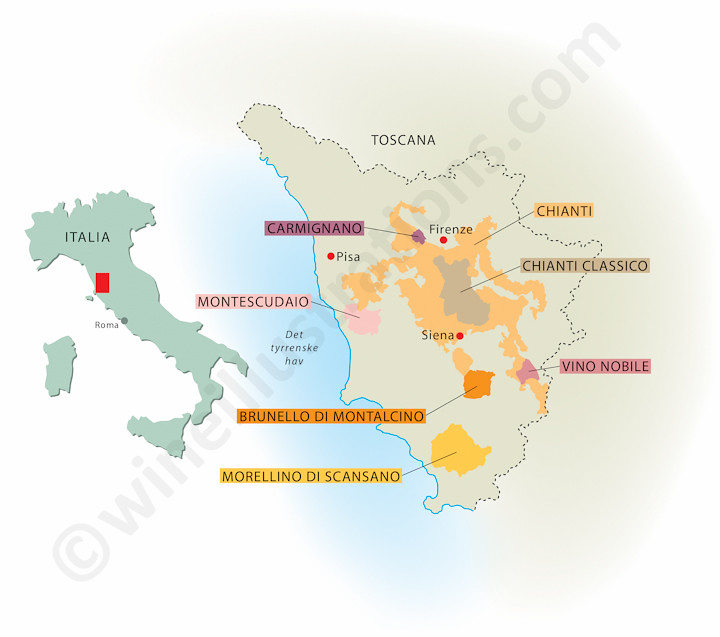 Karta Italien Chianti.Toscany Created For The Norwegian Wine Magazine Vinforum Wine