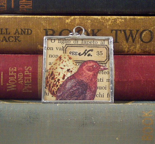 Bird and Egg Collage Art Soldered Pendant