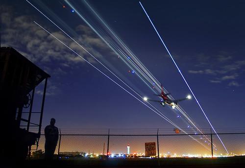 longexposure evening scenery florida miami aircraft