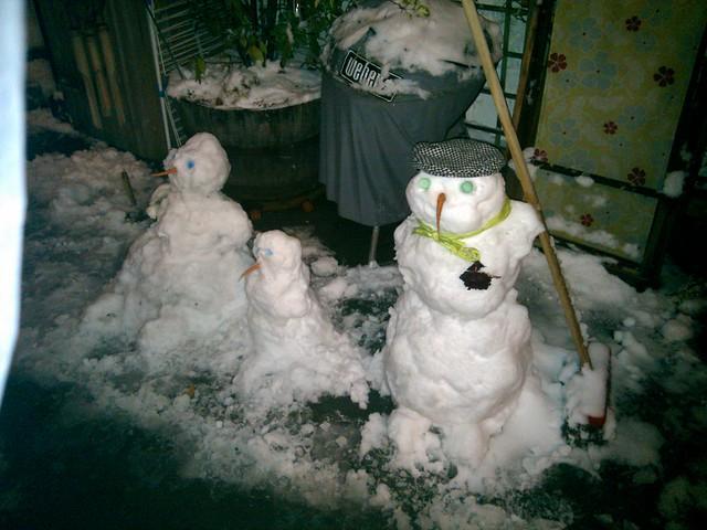 Poesy and I made a snow family, the flat, Hackney, London, UK