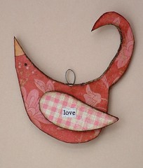 bird - ornament love red pink gingham