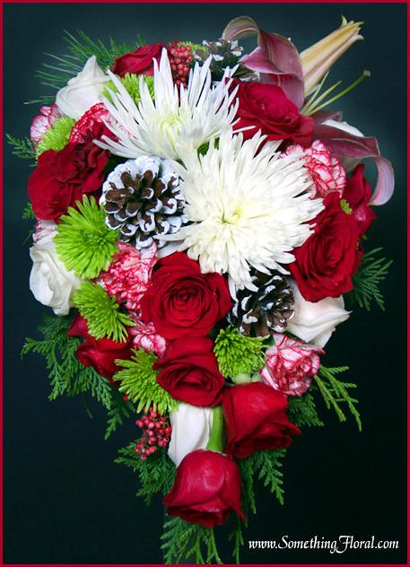 ChristmasBridalBouquet A festive cascade fresh floral bridal bouquet