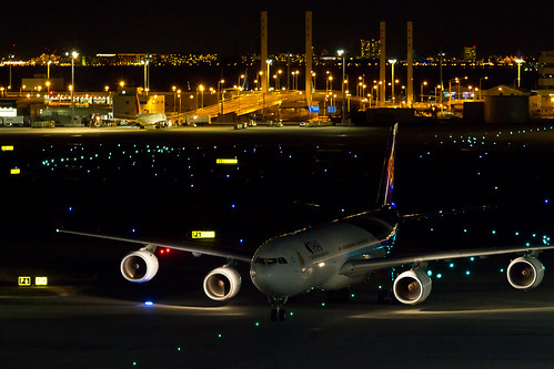 THA A340-500 taxiing for spot.
