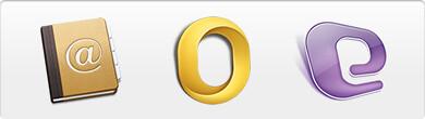 Mac Address Book, Outlook for Mac 2011, and Entourage logos