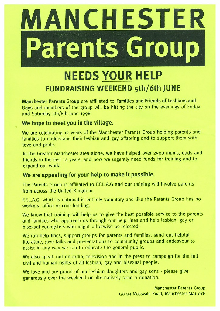 Manchester Parents Group fundraising flier, n.d. (GB124.G.FFLAG)